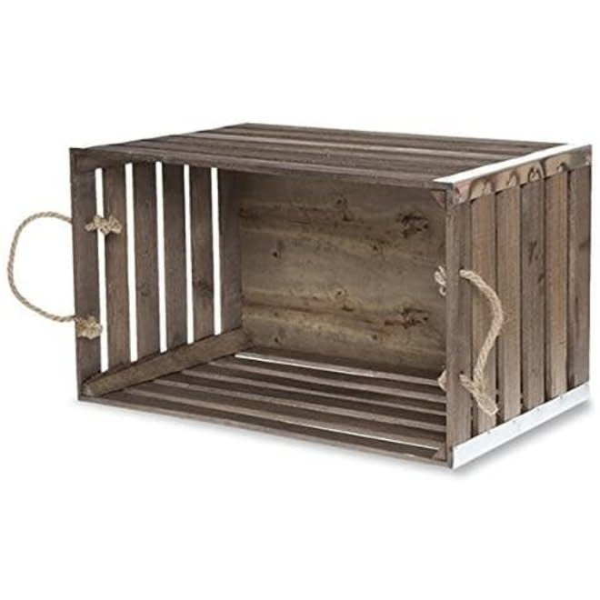 Metal Corners Wood Crate w/ Rope Handles-Medium