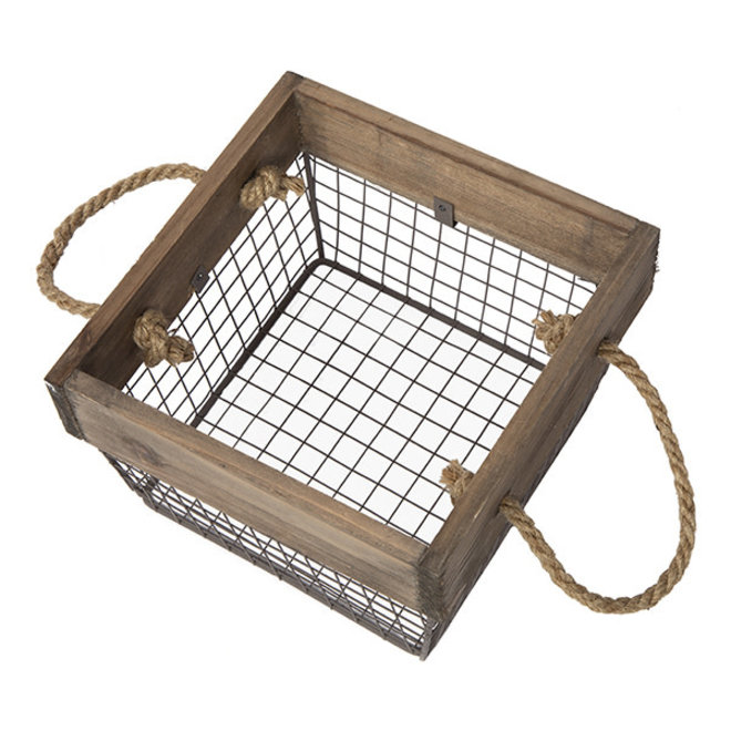 Square Wood & Wire Basket