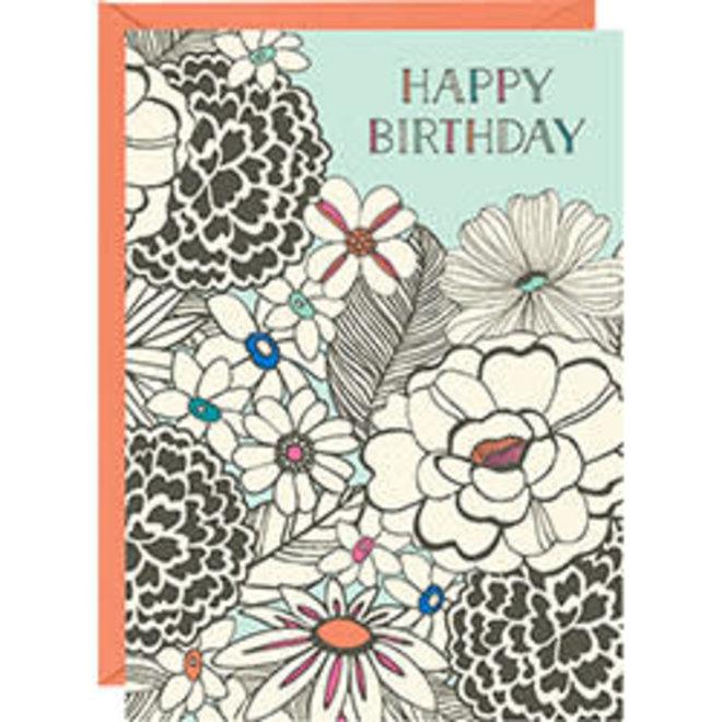 Sketch Floral Happy Birthday Card