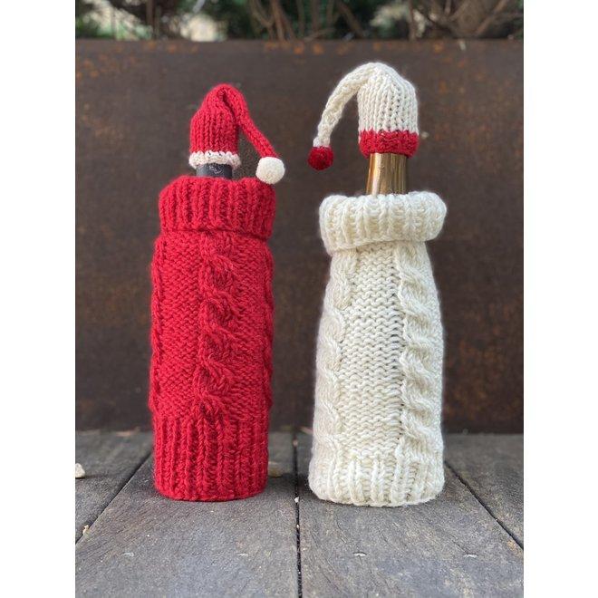 Knit Wine Cozy & Cap