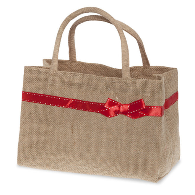 Natural Jute Bag with Red Bow