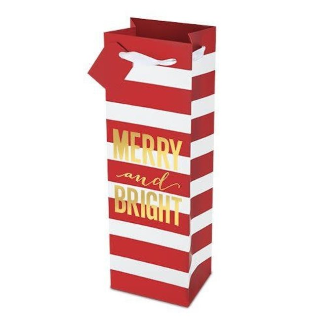 Merry and Bright Striped Bottle Bag