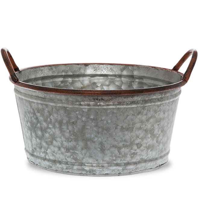 Jillian Round Galvanized Metal Container 10in