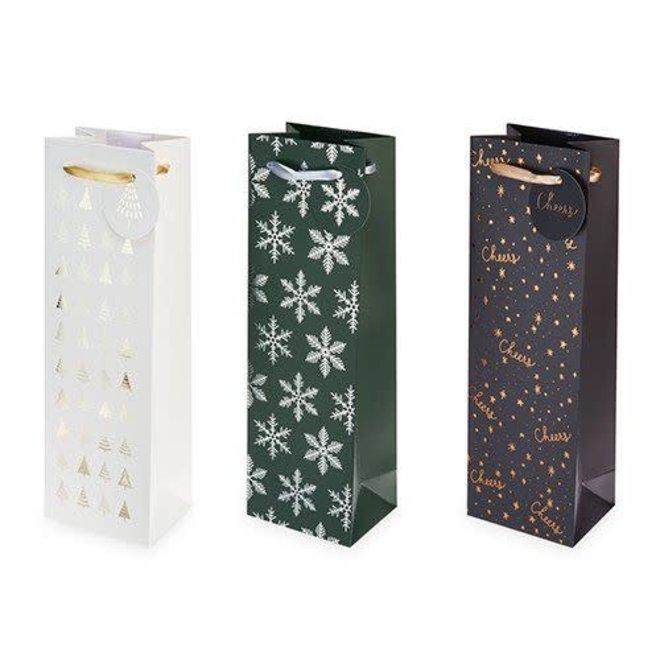 Green & Silver Snowflake single wine bag