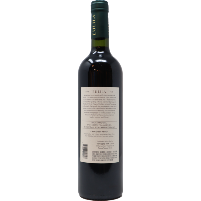"""2018 VIK """"Eulila"""" Red Blend Cachapoal Valley, Chile"""
