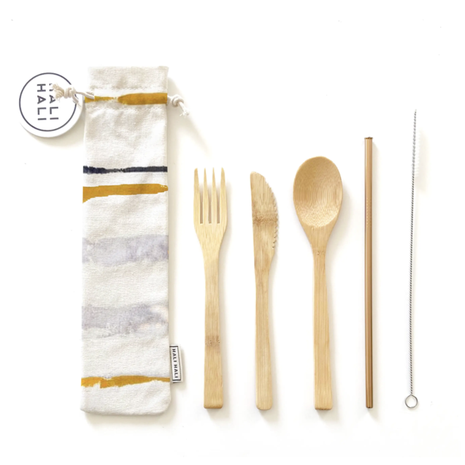 Hand Painted Reusable Cutlery Pouch- Lined Up (6pc)