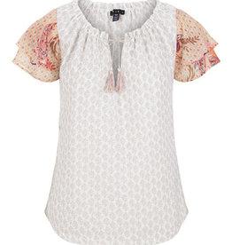 Ruffle sleeve peasant blouse