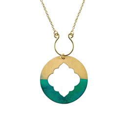 Matr Boomie Ashram Window necklace gold patina