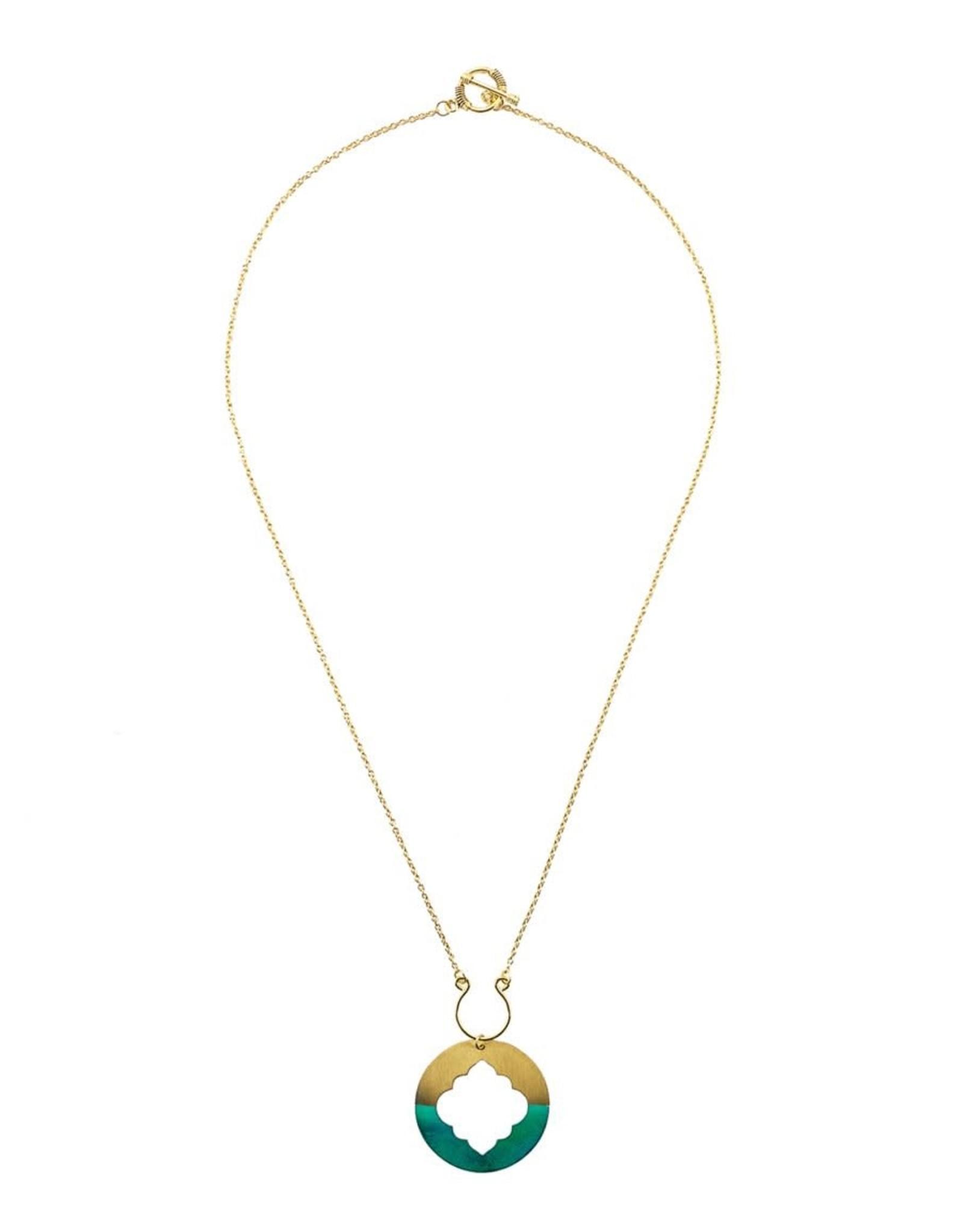 Matr Boomie Ashram Window necklace gold patina