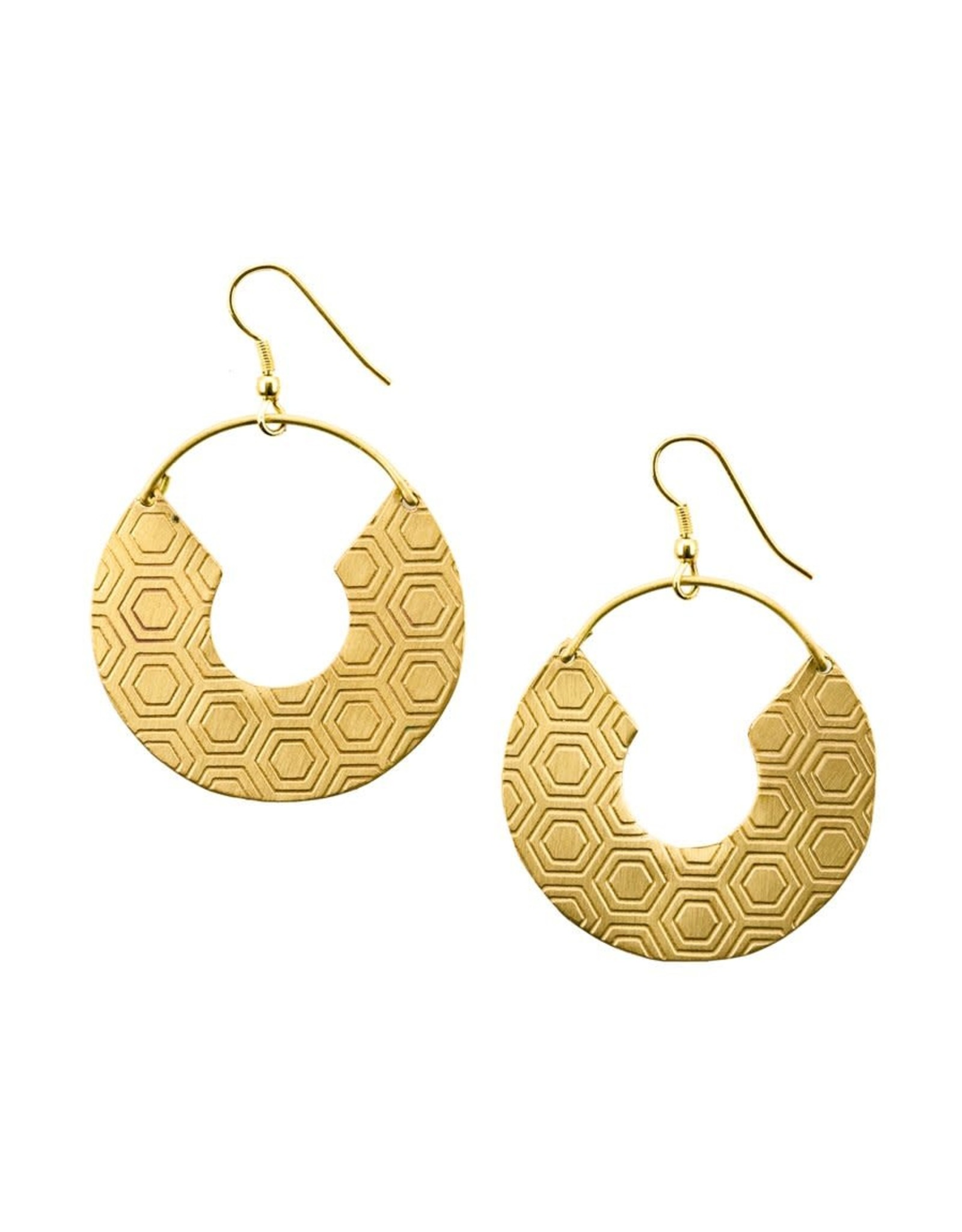 Matr Boomie Jaladhi earrings gold honeycomb