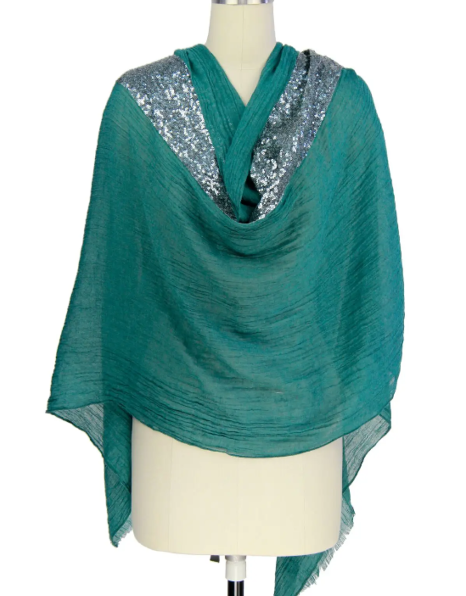Sequin detail scarf dark teal