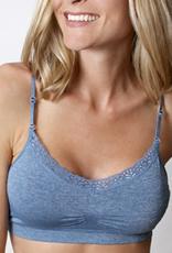 Seamless v-neck lace bra (42D-46E)