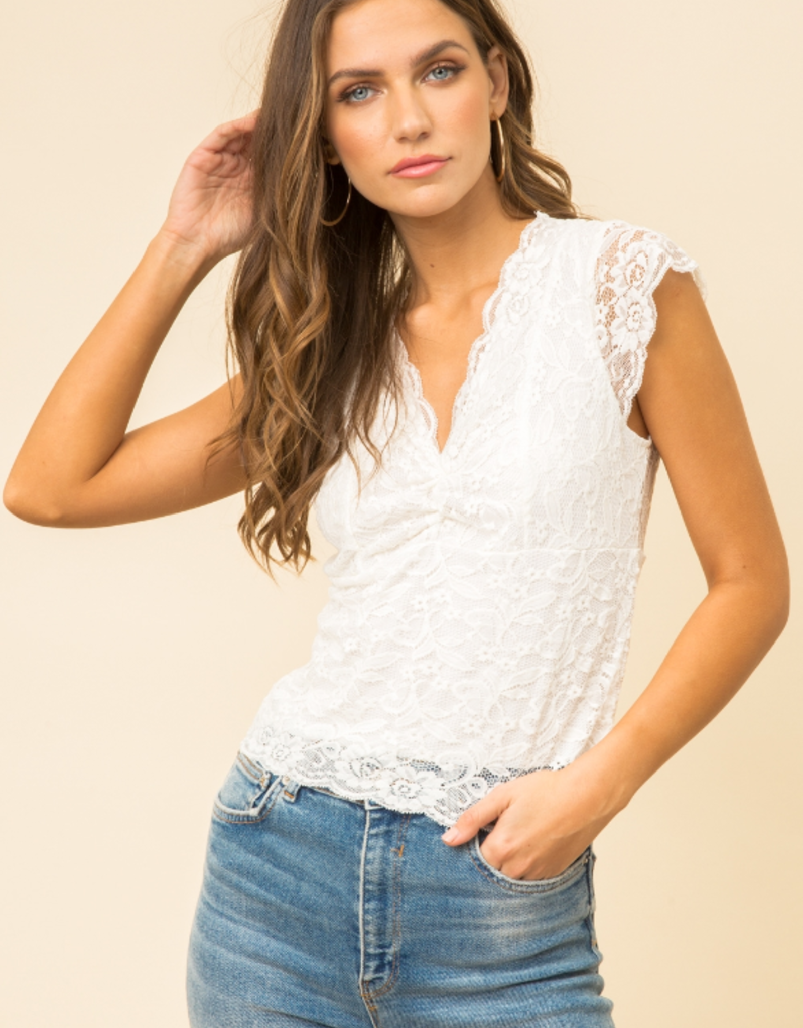 Scallop Lace crop top