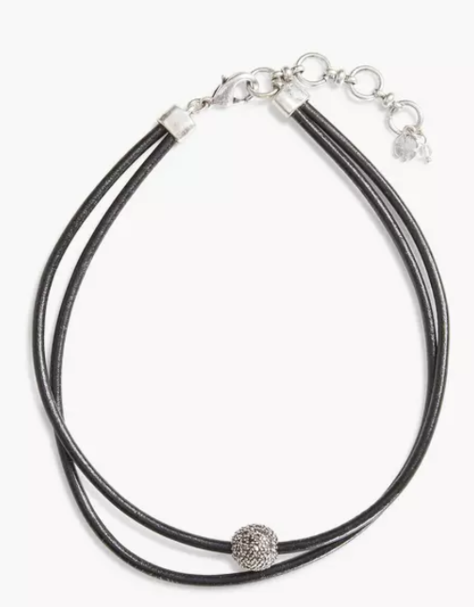 Black leather choker silver