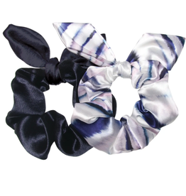 Banded Vertigo Blues bow scrunchies