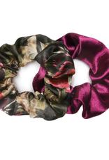 Banded Magenta Dark Floral satin scrunchies