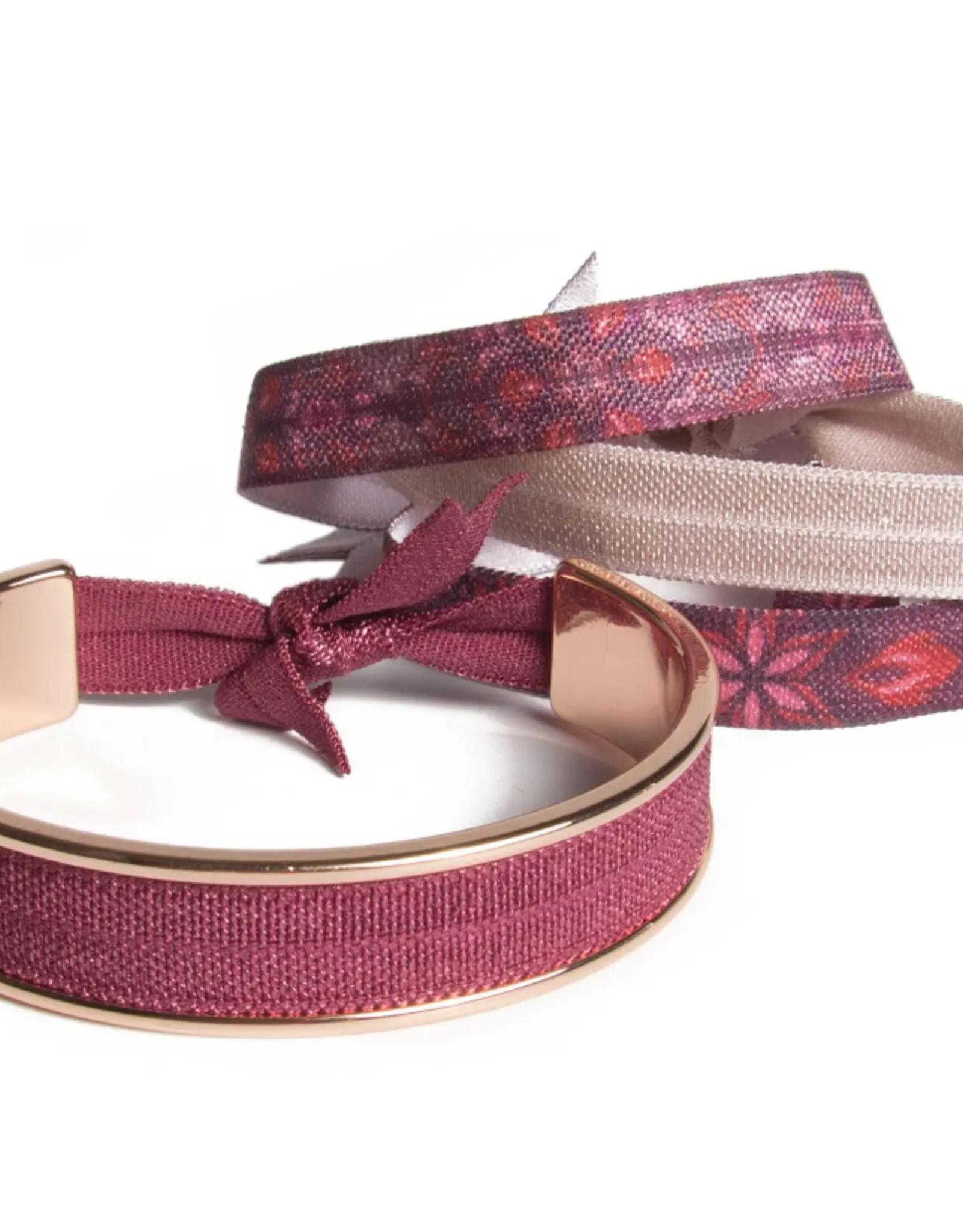Banded Wine Tapestry hair tie bracelet
