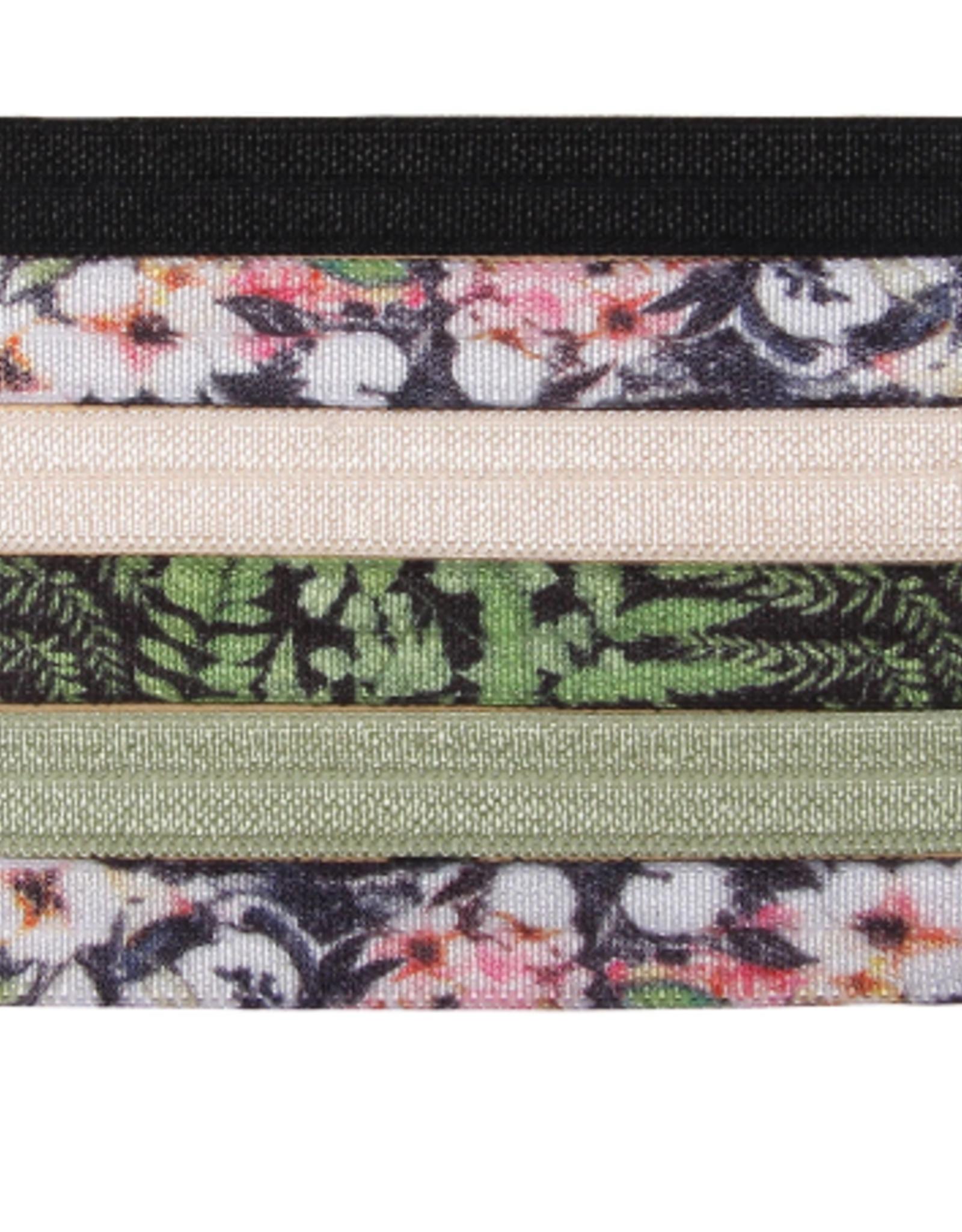 """Banded Flowers & Ferns hair ties (3/8"""")"""