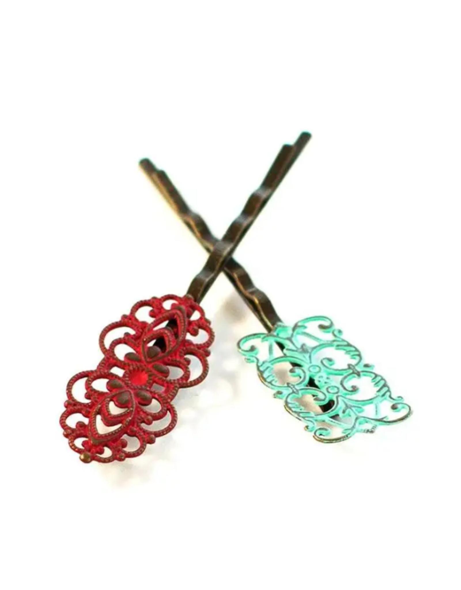 Gleeful Peacock Dainty bobby pins (Cherry & Mint)