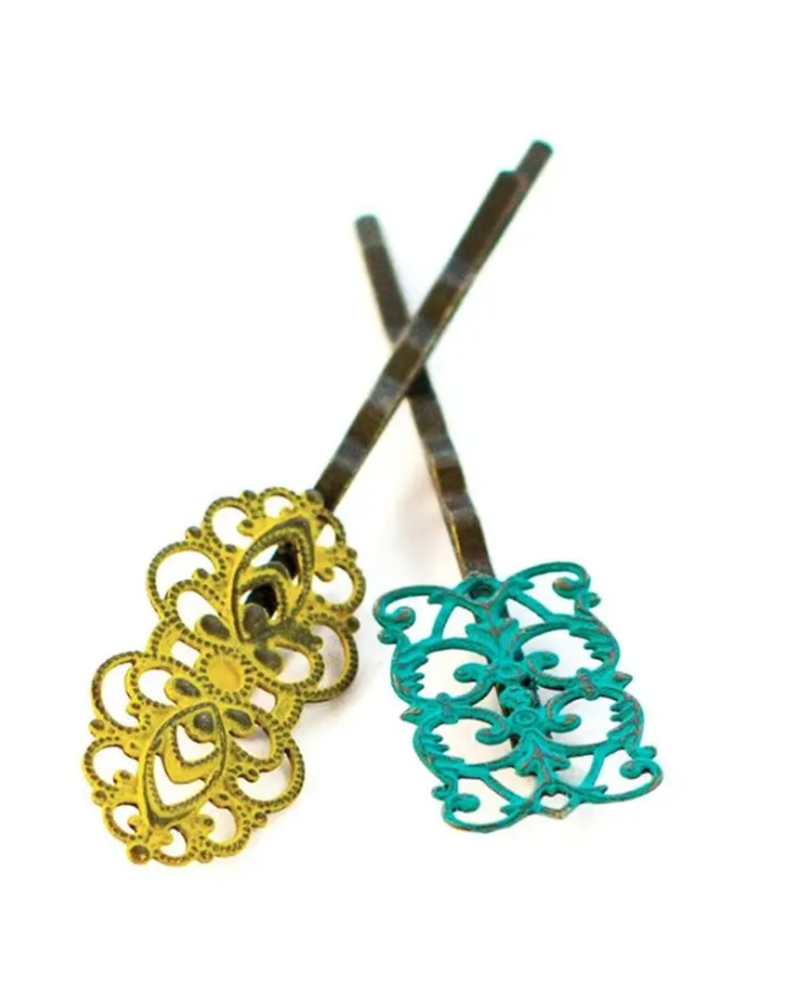 Gleeful Peacock Dainty bobby pins (Citron & Teal)