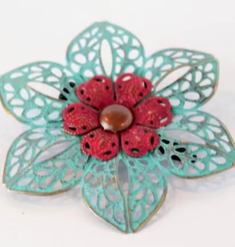 Gleeful Peacock Confidence hair clip (turquoise & cherry)