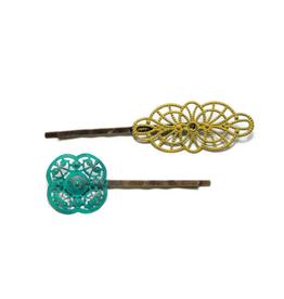 Gleeful Peacock Moxie bobby pins (citron & aqua)