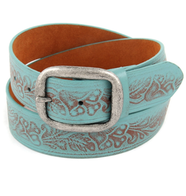 Floral embossed turquoise belt