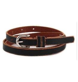 Skinny distressed leather belt