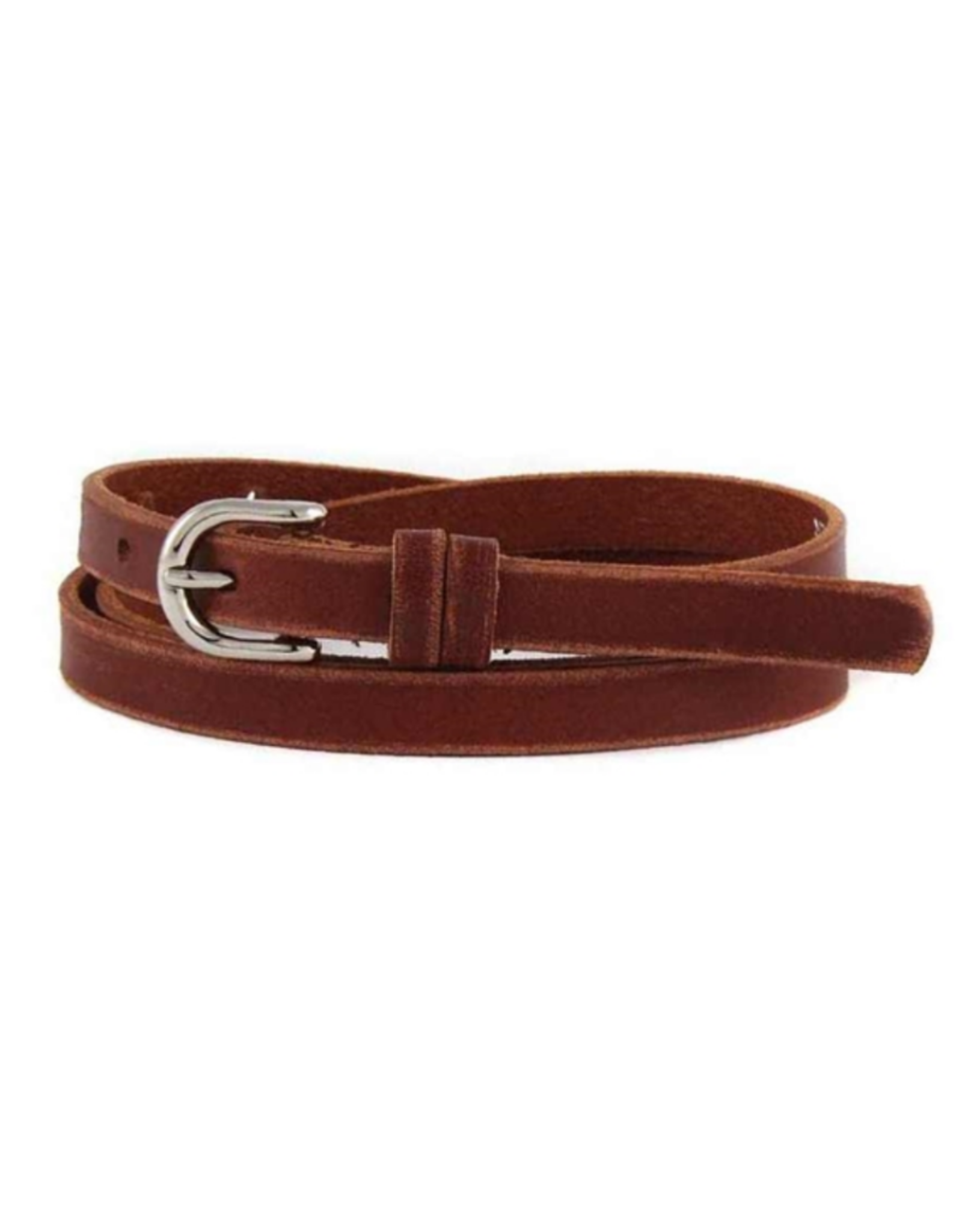 Skinny distressed leather belt