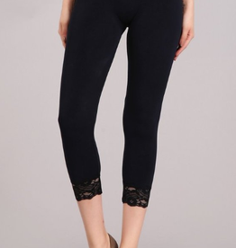 High Waist crop leggings with lace