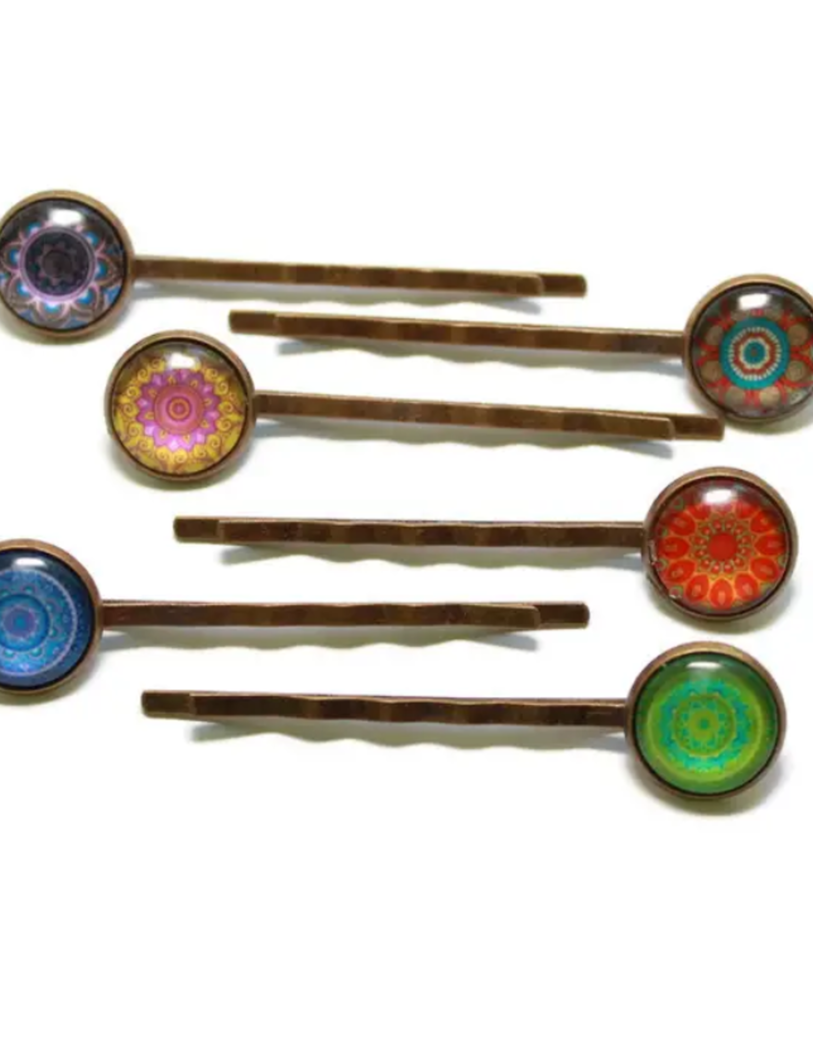 Gleeful Peacock Radiate bobby pins (set of 2)