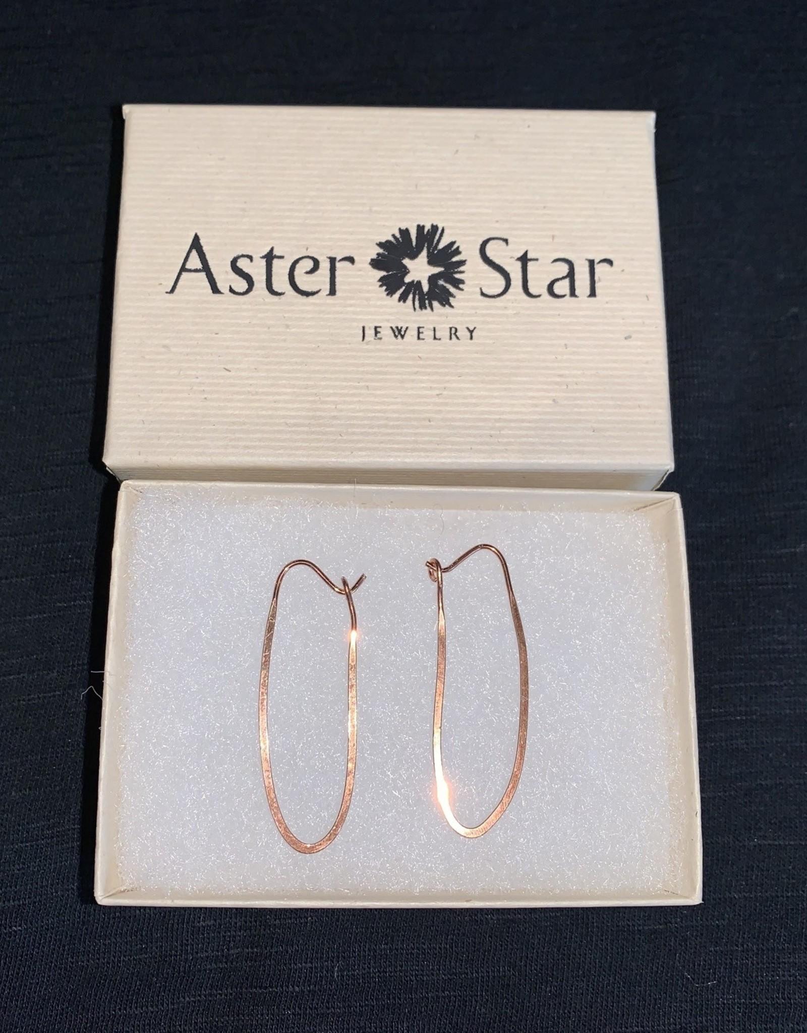 Copper elongated hoop earrings