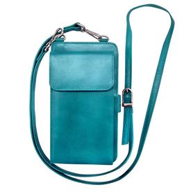 Leather Smartphone wallet- Aqua
