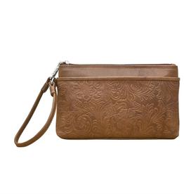 ili New York Cheyenne leather wristlet- Toffee