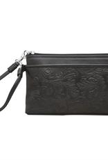 ili New York Cheyenne leather wristlet- Black