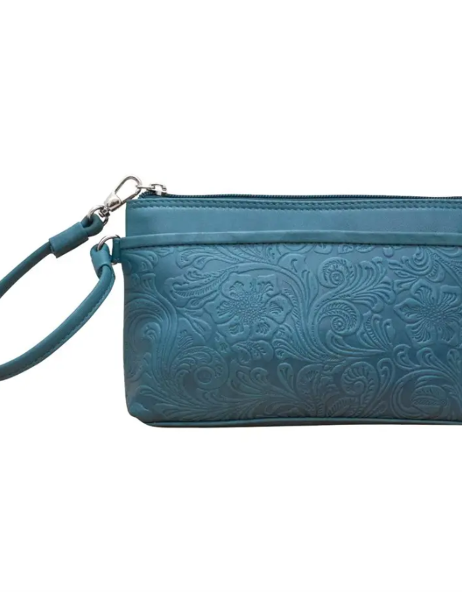 ili New York Cheyenne leather wristlet- Jeans Blue