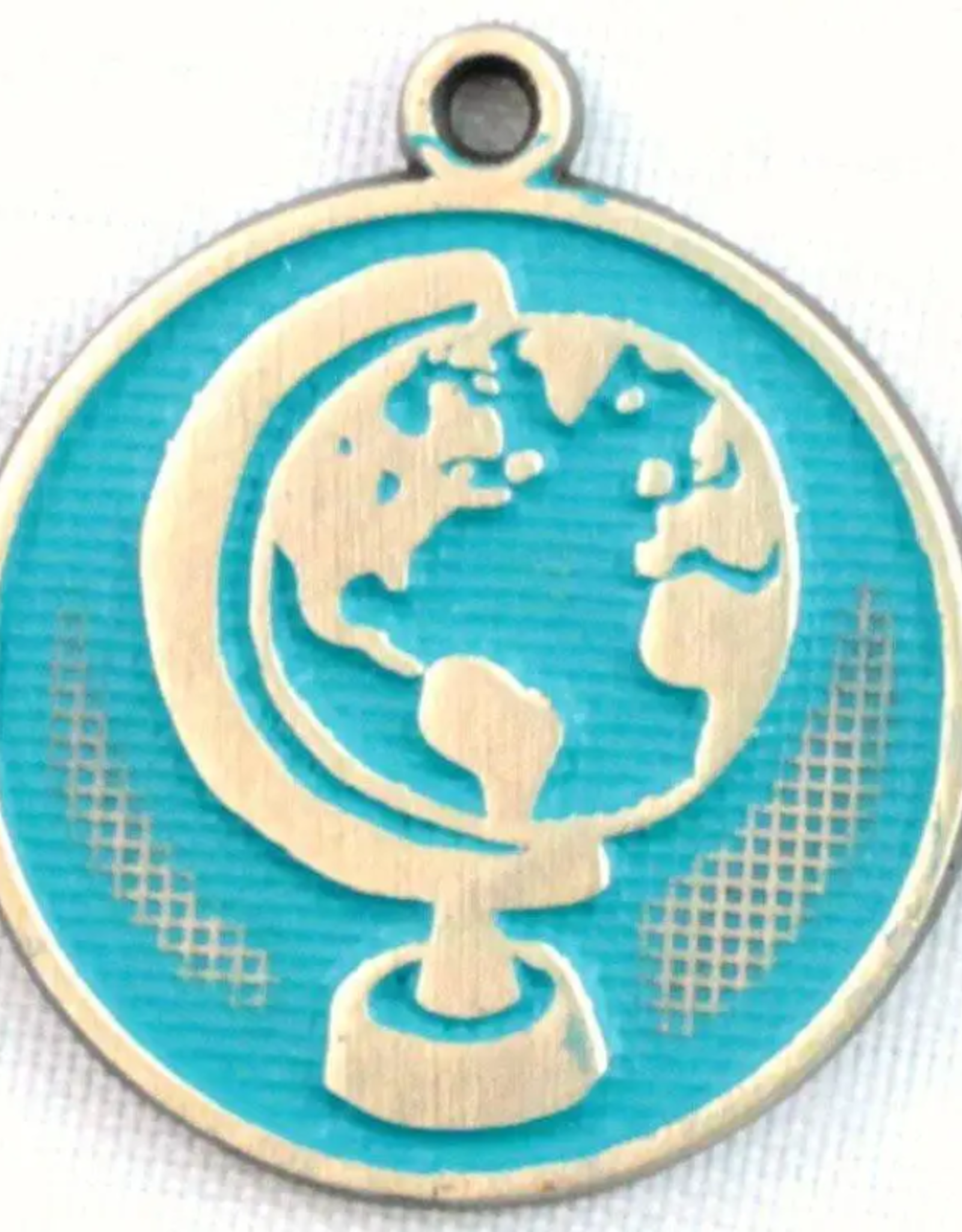 Gleeful Peacock Be the Change token necklace (aqua)