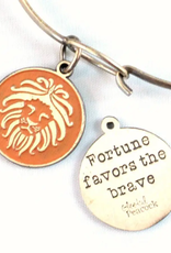 Gleeful Peacock Fortune Favors the Brave token necklace (ginger)