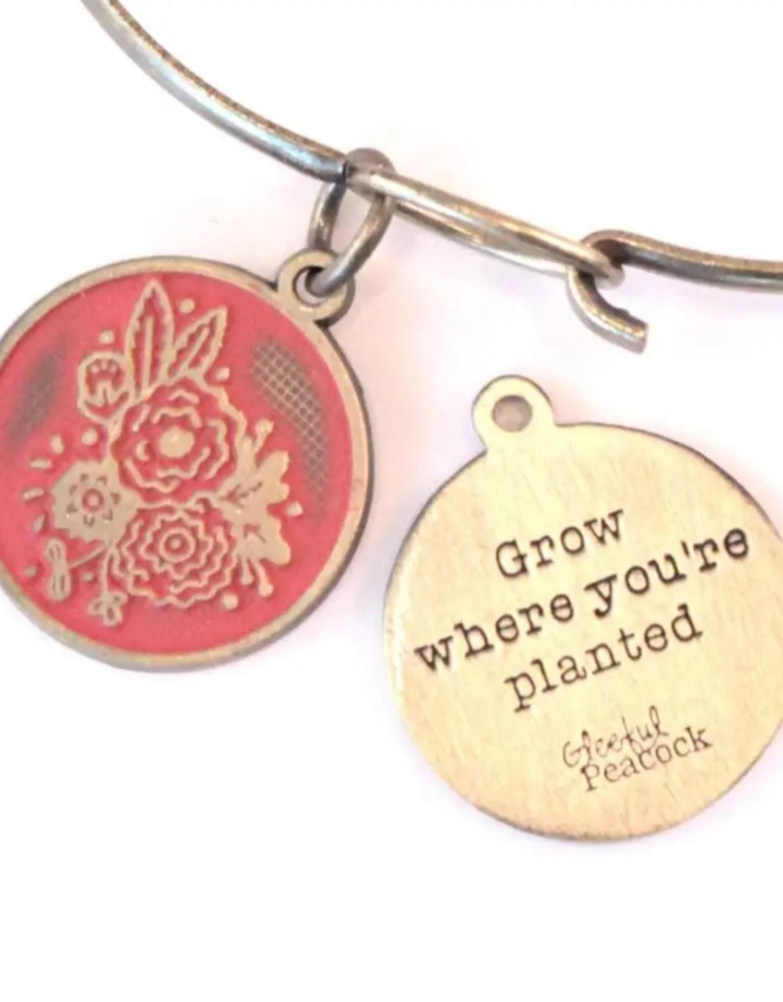 Gleeful Peacock Grow Where You're Planted token necklace (terra cotta)