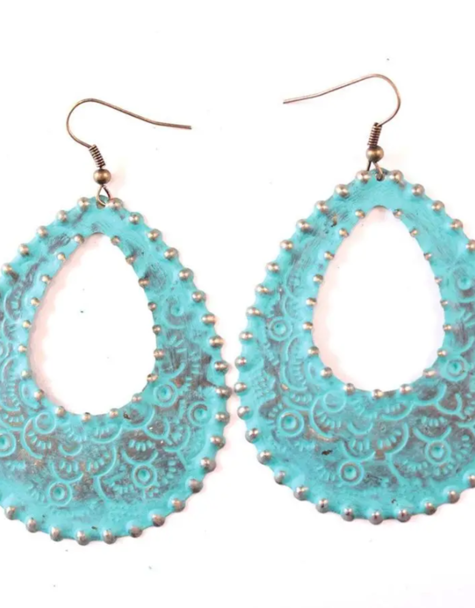 Gleeful Peacock Cowgirl Filigree earrings (turquoise)