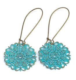 Gleeful Peacock Darling Filigree earrings (turquoise)