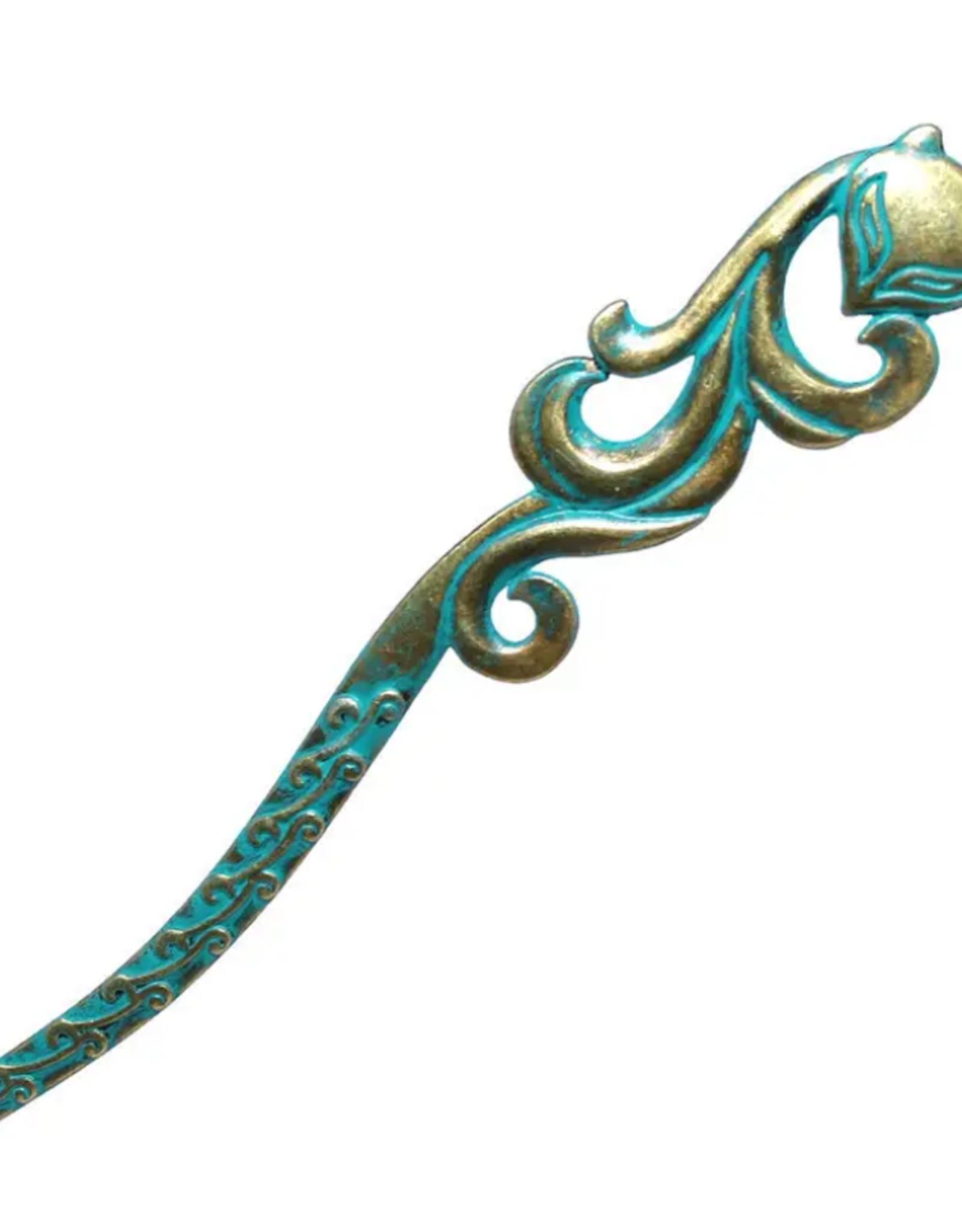 Gleeful Peacock Vixen Hairstick (aqua)