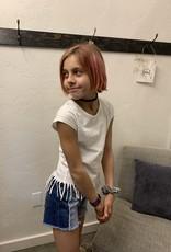 Frayed colorblock denim shorts