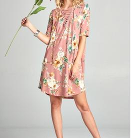 Lace-up Floral dress