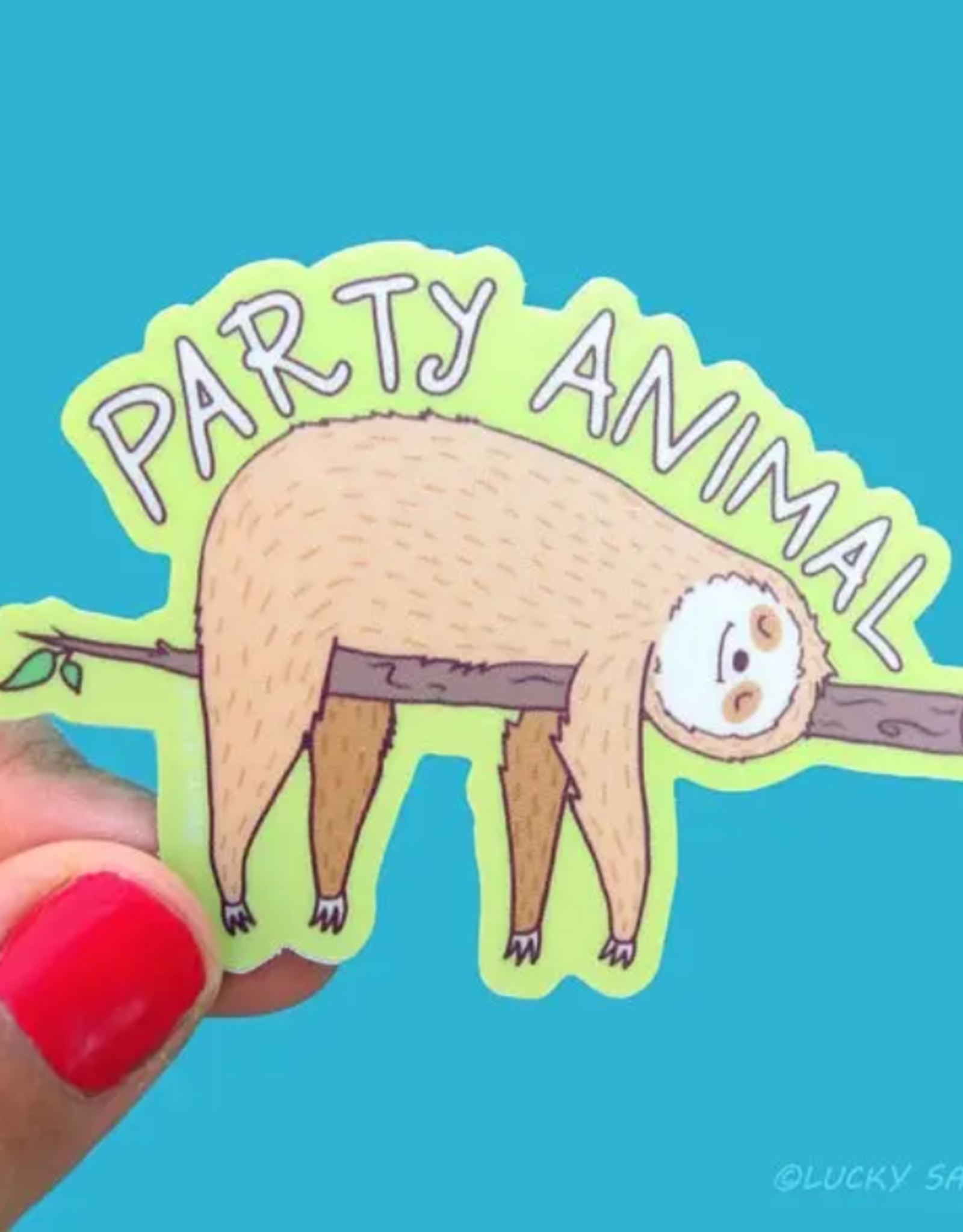 Lucky Sardine Party Sloth waterproof vinyl sticker