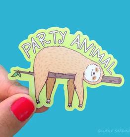 Lucky Sardine Party Sloth waterproof vinyl sticker