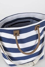 ShoreBags Cabana Tote- Navy wide stripes