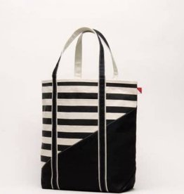 ShoreBags Large Contemporary Boat Bag- Black Stripe