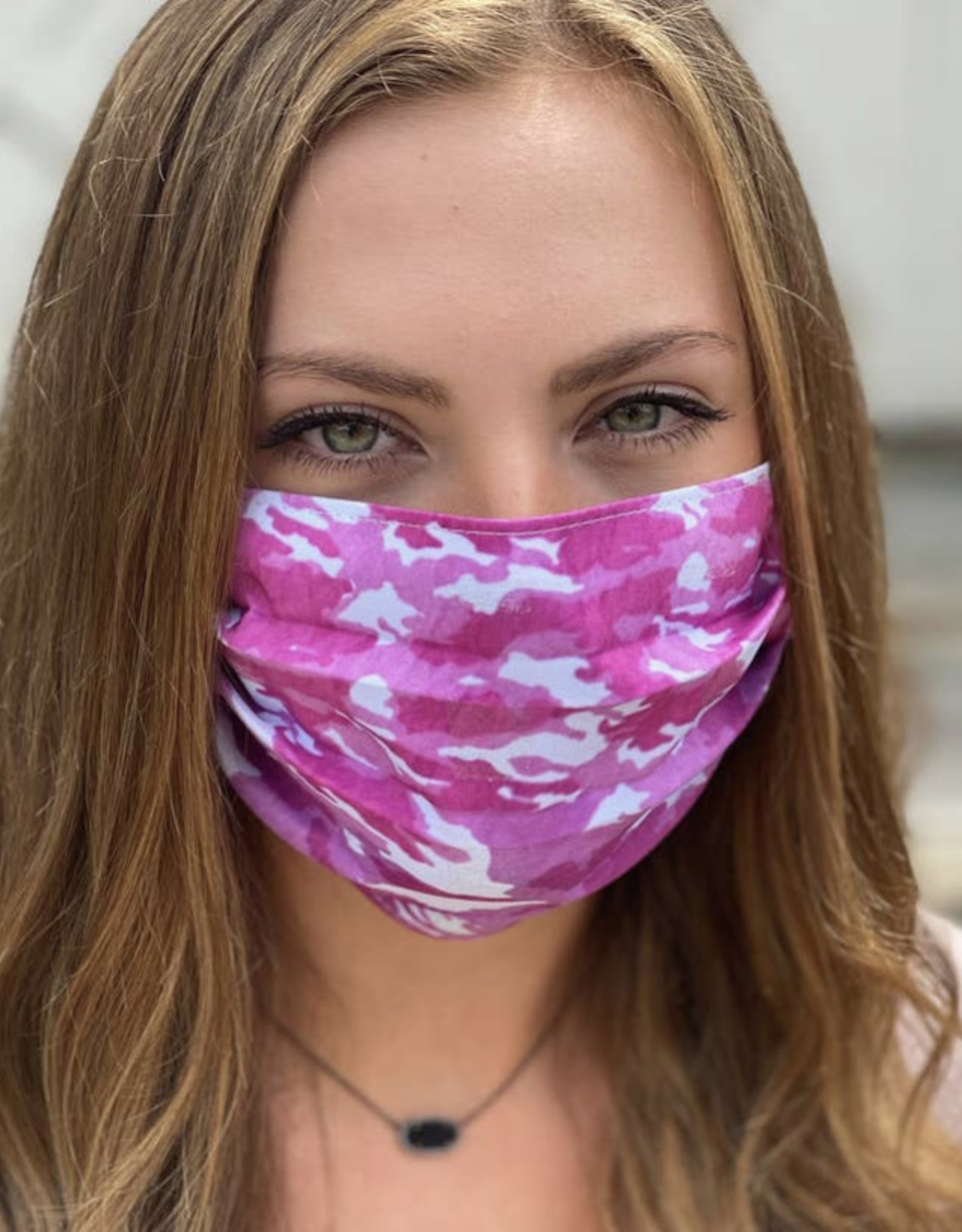 Salt and Palms Pink camo face mask