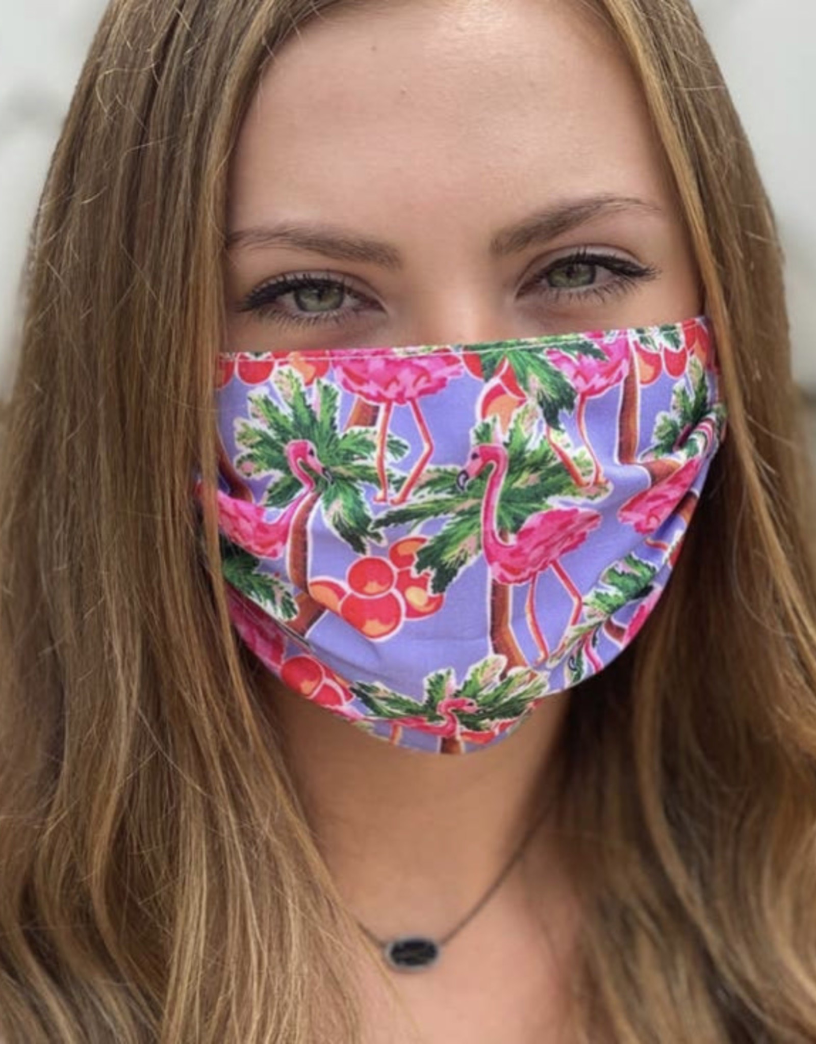 Salt and Palms Flamingo face mask